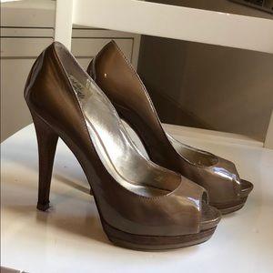 Pelle Moda Patent Nude Classic Peep Toe Heels